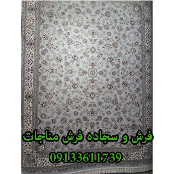 فرش ماشینی 700 شانه طرح گلشن نقره ای
