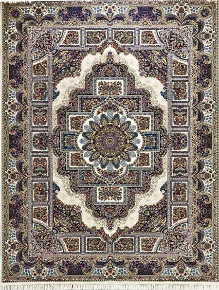 بهترین فرش ماشینی طرح حوض نقره کرم