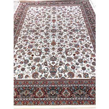 فرش ماشینی 700 شانه طرح افشان درباری کرم