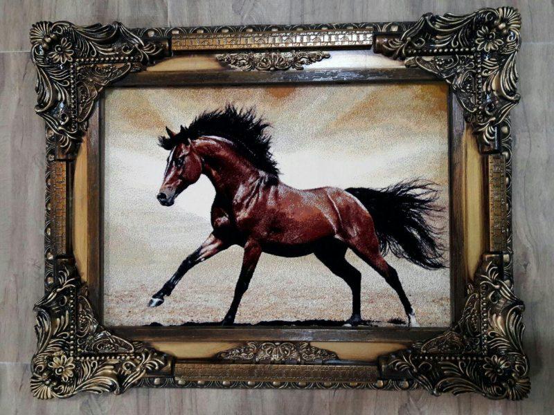 تابلو فرش طرح اسب و حیوان کد 113