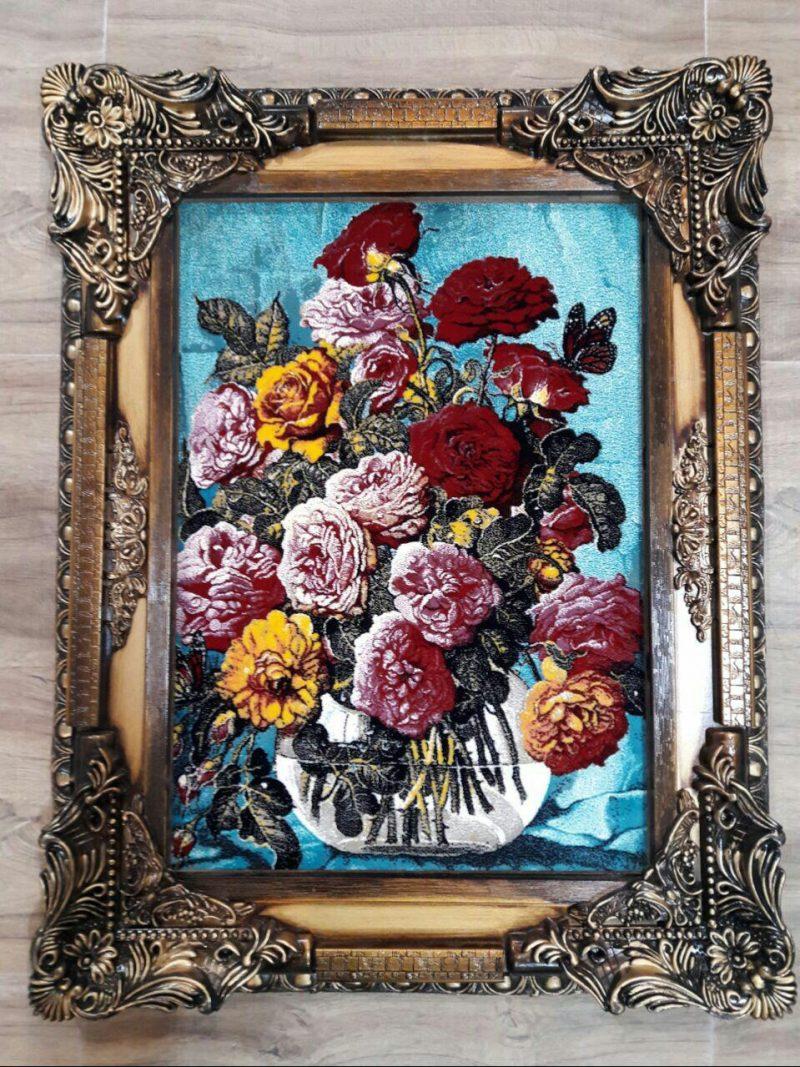 تابلو فرش گل و گلدان کد 120