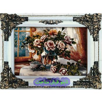 فروش تابلو فرش گل و گلدان کد 108