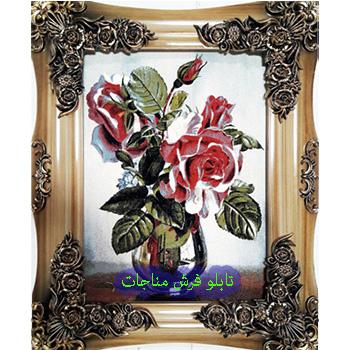 فروش تابلو فرش گل و گلدان کد 110