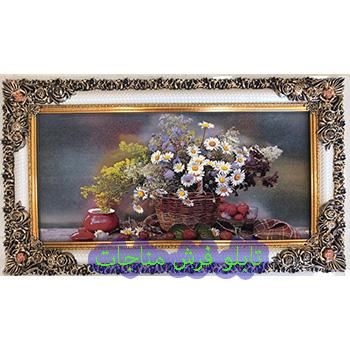تابلو فرش گل و گلدان کد 57 طرح گل بابونه