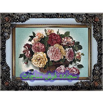 فروش تابلو فرش ارزان گل و گلدان کد 72