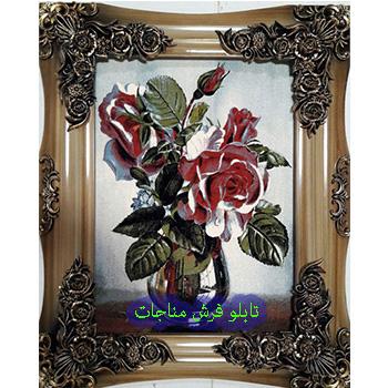 تابلو فرش گل و گلدان 1200 شانه کد 96