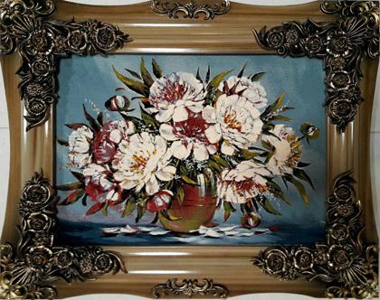 تابلو فرش گل و گلدان 1200 شانه کد 97