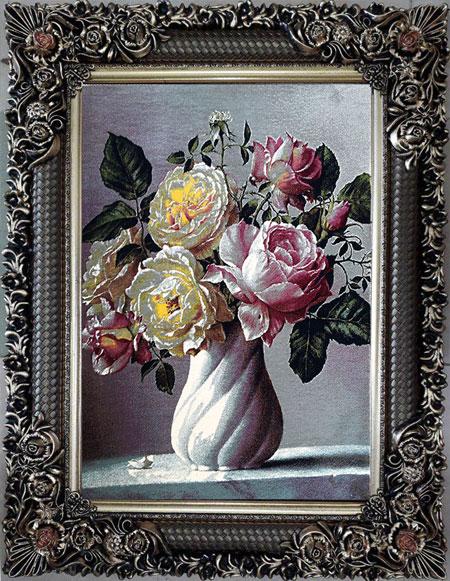 تابلو فرش ماشینی طرح گل و گلدان